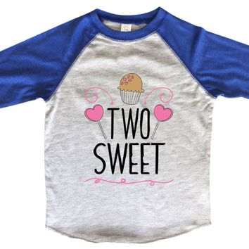 Two Sweet BOYS OR GIRLS BASEBALL 3/4 SLEEVE RAGLAN - VERY SOFT TRENDY SHIRT B989