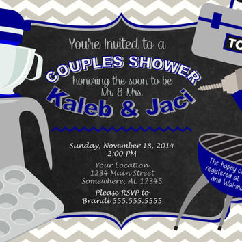 Couples Wedding Shower Custom Printable Invitation. Blue, Gray, White, Silver.  Casual Couples Shower Kitchen BBQ Invite.  Bridal Shower.