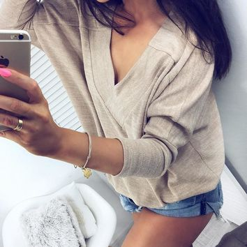Loose Fitting VNeck Pullover Tops