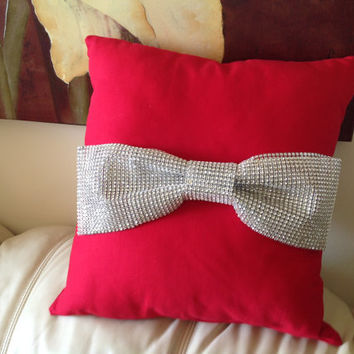 Two Red Rhinestone Bow Pillows (Free Shipping)