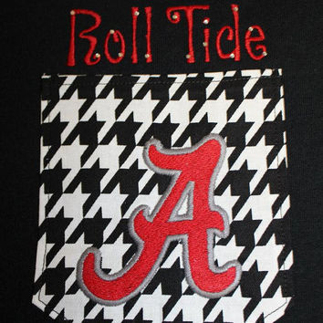 University of Alabama Crimson Tide Pocket Off-the-Shoulder Shirt Chevron