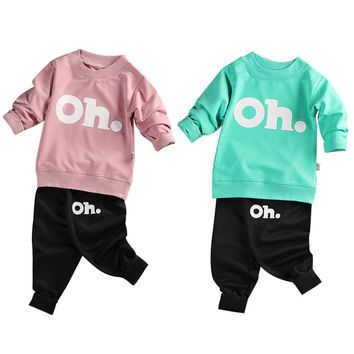 2PCS Fashion Baby Long-sleeved Sweats Set Toddler Sweater Letter Pattern Style Children Sweatsuit Outfits for Kids Boys Girls