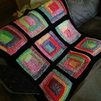 Blanket, Throw, Sofa Throw, Loveseat Throw, Bedding, Lapghan, Home Decor, Log Cabin Style, Knit, Rainbow, Colorful