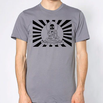 Mens Star Wars Bobba Fett Buddha- American Apparel slate gray T shirt- available in S, M, L, XL, 2XL- WorldWide Shipping