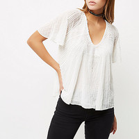 Cream embellished T-shirt - blouses - tops - women