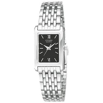 Citizen Quartz Ladies Watch - Black Dial with Stainless Steel Case and Bracelet