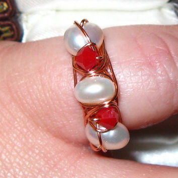 Pearl and Red Crystal Cocktail Ring - Size 6