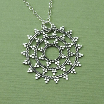 Large Mandala Necklace - sterling silver mandala pendant - trendy jewelry - zen jewelry