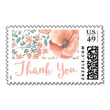 Pink Floral Watercolor Thank You Stamp