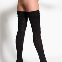 Chain-Link Solid Thigh-High Socks | American Apparel