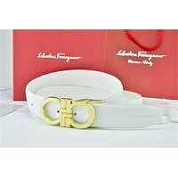 Gold Buckle White Leather Ferragamo Belt