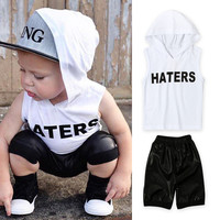 Set Children Summer Alphabet Vest Hats T-shirts Bottom & Top [9283971524]
