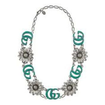 Gucci Enameled Double G necklace