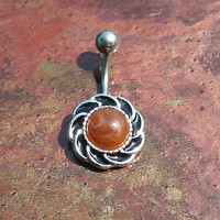 14 gauge stainless steel tiger eye stone belly button ring, navel ring, body jewelry