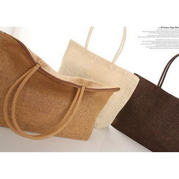 New 2015 Womens Straw Summer Style Woven Shoulder Tote Shopping Beach Bag Purse Handbag straw Beach Bags travel for vacation