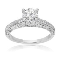 7/8ct tw Diamond Fleur De Lis Engagement Ring in 14K White Gold - Fleur De Lis - Collections - Jewelry & Gifts