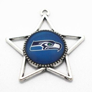 LMFON Hot selling football Sports Seattle Seahawks Team Hanging Dangle Charms Glass Pendant Fit Necklace Bracelet diy Jewelry