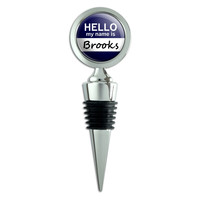 Brooks Hello My Name Is Wine Bottle Stopper