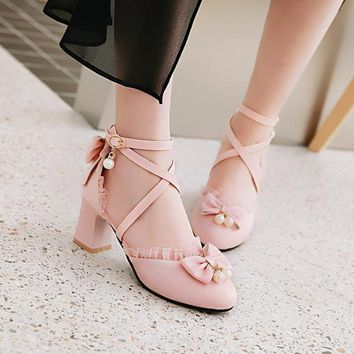 2018 Bwotie Beads Bride Wedding Shoes Women Sweet Lolita Mary Janes Sandals Cross Strap Chunky Block High Heels Cosplay Shoes