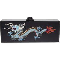 EDIE PARKER - Flavia satin panel dragon box clutch | Selfridges.com