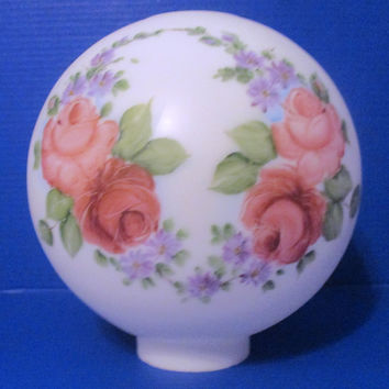 64299 - Satin Opal With Pink And Burgundy Roses 11 Inch Glass Ball Lamp Shade