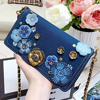 COACH New fashion floral chain shoulder bag crossbody bag women Blue