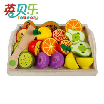 Wooden Kitchen Toy Pretend Play Miniature Cutting Fruit Vegetables Mother Garden Baby Early Education Toys for Children Girls