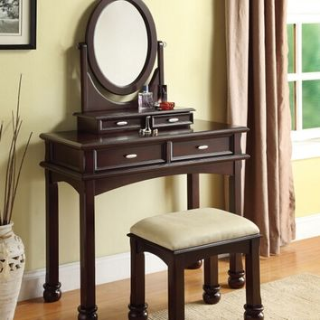 Amherst 3 pc espresso finish wood make up dressing table vanity set with stool and oval mirror