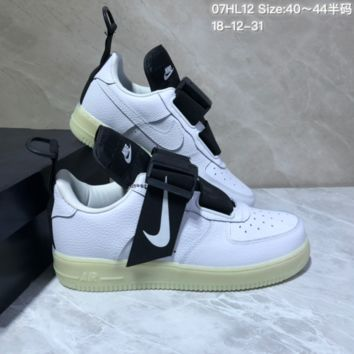 DCCK N910 Nike Air Force 1 AF1 Utility Velcro Leather Skate Shoes White Black