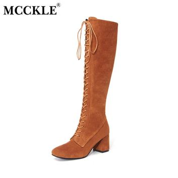 MCCKLE Ladies Fashion Sexy Lace Up Knee High Boots 2017 Women Shoes Thick Heel Solid Black Elastic Slim  High Heels Plus Size