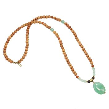Aventurine and Sandalwood 'Good Luck and Prosperity' Mala Necklace