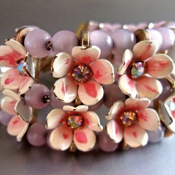 Pink Flower Cluster LÉRU Bracelet, AB, Moonglow Glass Beads, Painted Enamel, Vintage