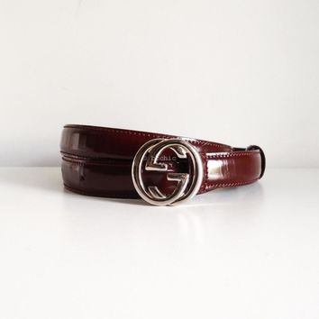 100% authentic GUCCI vintage patent leather GG logo belt silver burgundy red 70