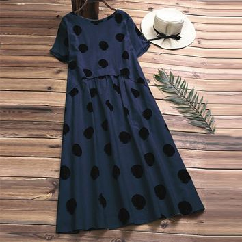 2018 Summer Casual O Neck Short Sleeve Vintage Polka Dot Loose Vestido Women Elegant Cotton Linen Work Office Pleated Long Dress