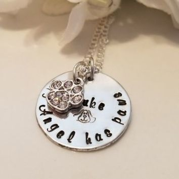Angel Dog Sympathy Pet Loss Necklace Personalized Hand Stamped Sterling Chain