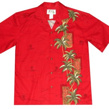 KY's Mens Red Button Down Hawaiian Shirt with Tikis and Palms