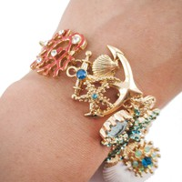 Sea Inspired Coral Starfish Seashells Anchor Charm Bracelet