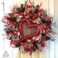 Valentine's Day Silver/Red Deco Mesh Wreath