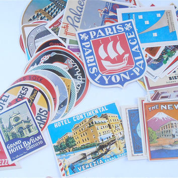 Vintage Travel Stickers Retro Travel Labels Art Deco Luggage Stickers Nostalgic Train Labels Baggage Sticker Label Retro Collectible Sticker