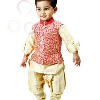 Children Jodhpuri Breeches Kurta Set With Embroidery Jacket For Wedding