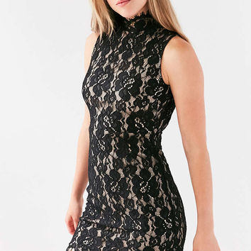 Oh My Love Brianna Lace Mock Neck Mini Dress - Urban Outfitters
