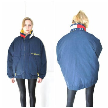 TOMMY HILFIGER puffer coat vintage 80s 90s DESIGNER navy oversized unisex winter ski jacket large