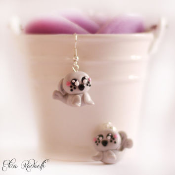 seal earrings - polymer clay