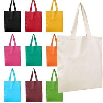BagzDepot Canvas Tote Bags Bulk - 12 Pack - Customizable Reusable Grocery Bags for Shopping Decorating Events Blank Canvas Bags for Crafts 15X16