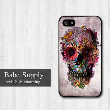 Sugar Skull iPhone 4 case, iPhone 4s case, Floral Skull cover skin case for iPhone 4 4s 4g, Black, White, Clear Hard case for your choice