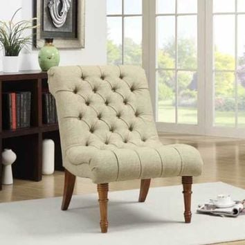 Chelsea II collection mossy green linen like fabric upholstered accent chair with wood legs