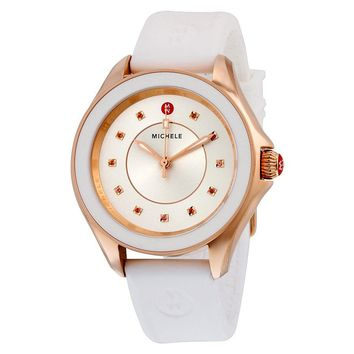 Michele Cape Sunray Dial White Silicone Quartz Ladies Watch MWW27A000004