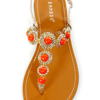 Bamboo Warner 30 Gold Bejeweled T-Strap Thong Sandals