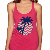 Palm Tree with Chevron Tank Top