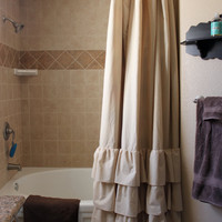 Tan Four Ruffle Shower Curtain